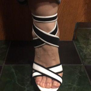 Black and White Shoes with Clear Heel